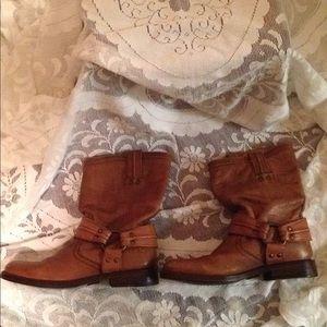 Frye tan harness boots size 5 1/2